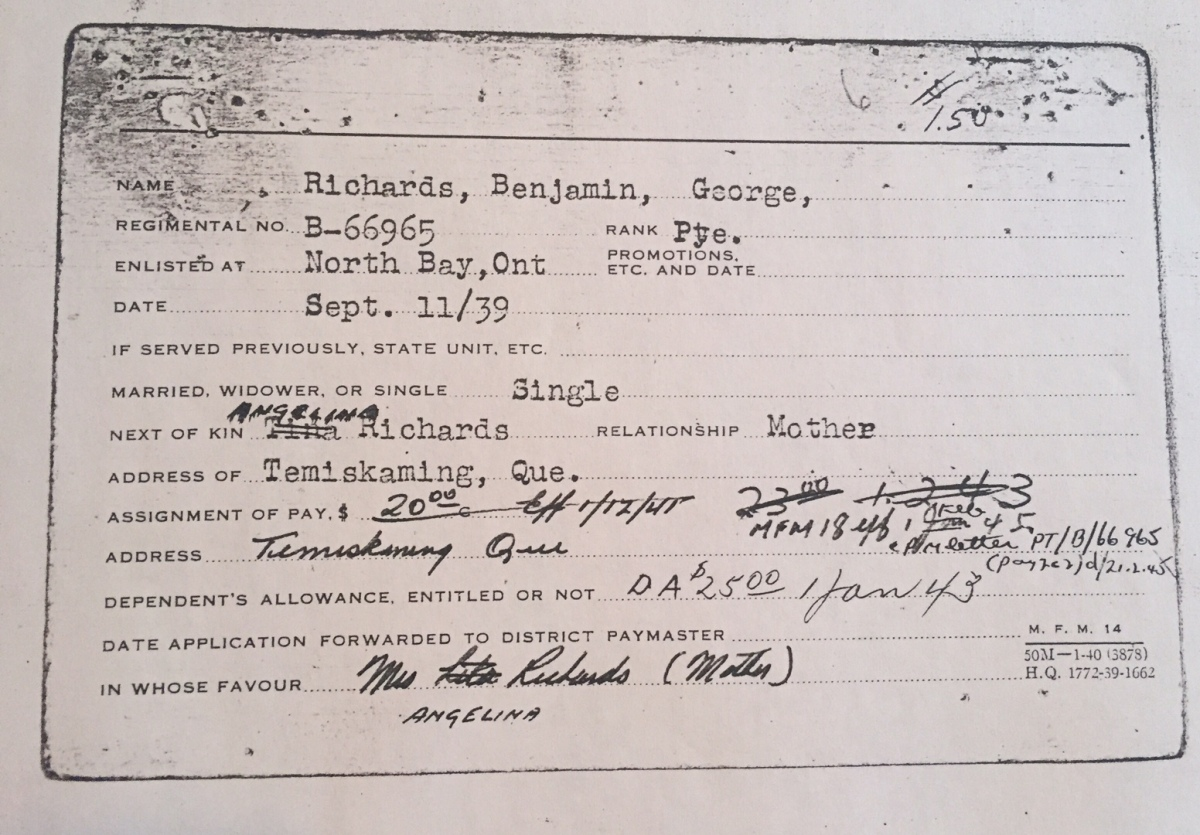 On Genealogy: Story of Pte. Benjamin Richards